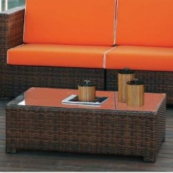 Mesa de centro de rattan sint tico mobiliario terraza for Mobiliario jardin rattan sintetico